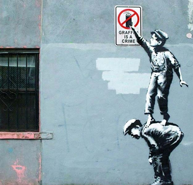 Banksy Graffiti Is a Crime - Wall Art Print On Wood