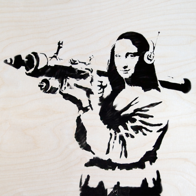 Banksy Monabazooka - Wall Art Print On Wood