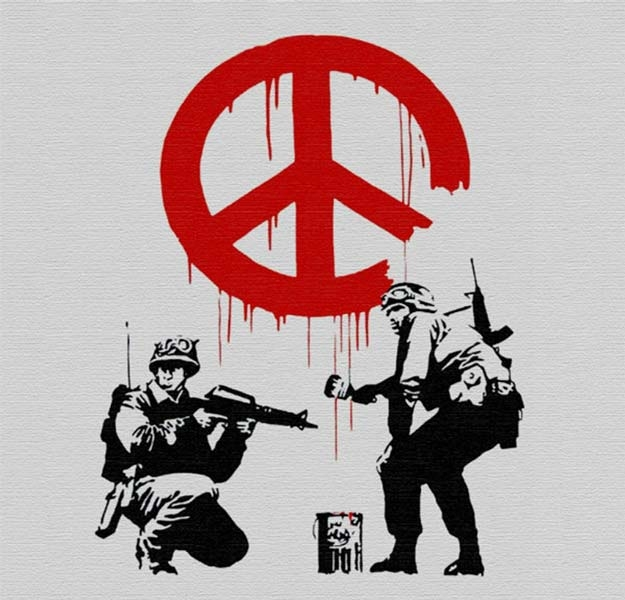 Banksy Peace - Wall Art Print On Wood