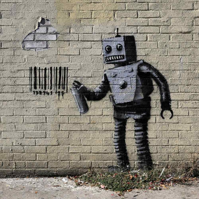 Banksy Robot - Wall Art Print On Wood