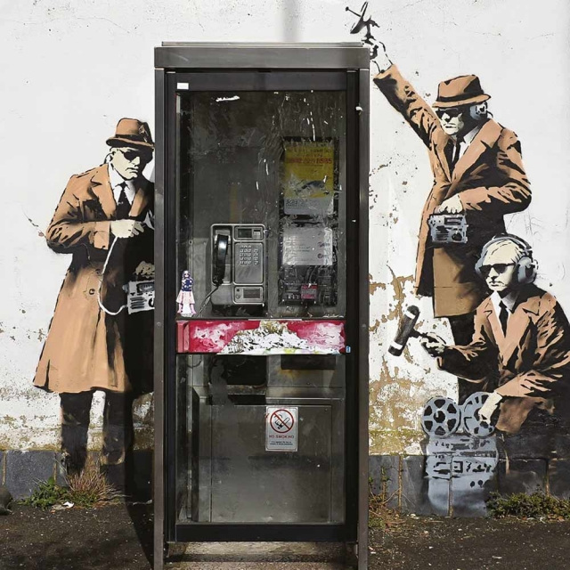 Banksy Spies - Wall Art Print On Wood