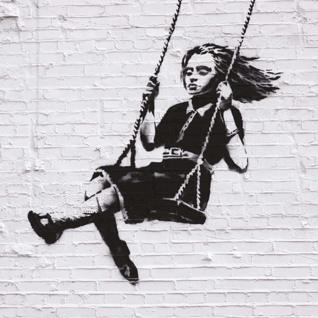 Banksy Swing - Wall Art Print On Wood