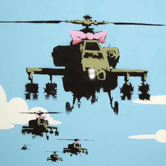Banksy Helicopter - Wall Art Print On Wood