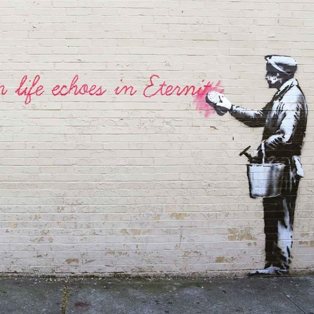 Banksy Eternity - Wall Art Print On Wood