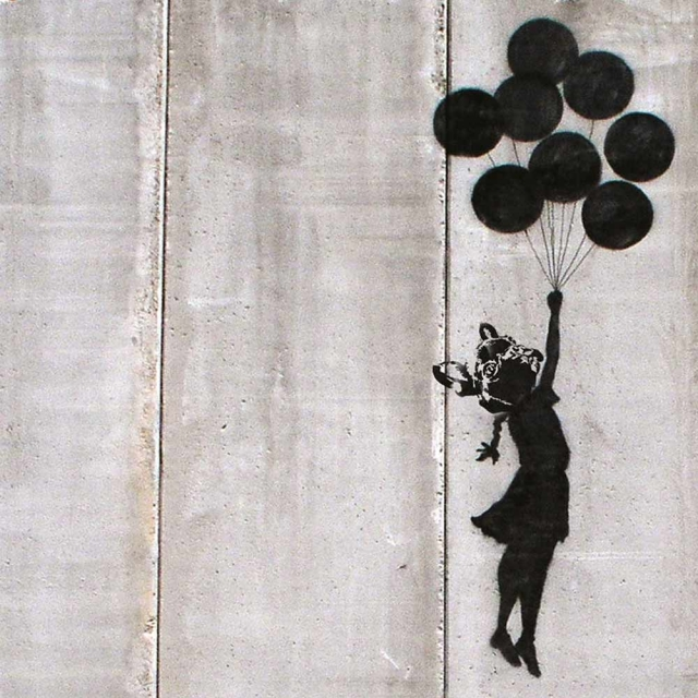 Banksy Floating - Wall Art Print On Wood