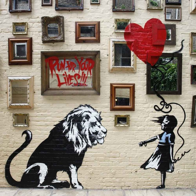 Banksy Lion - Wall Art Print On Wood