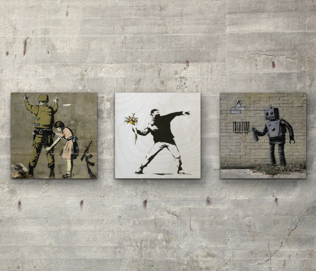 "Banksy collection Three 6"" x 6"" Wall Art Prints On Wood"