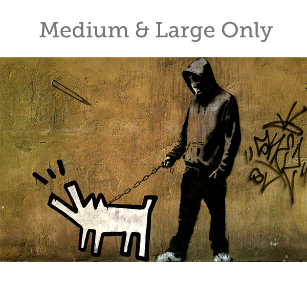 Banksy Man and Dog - Wall Art Print On Wood