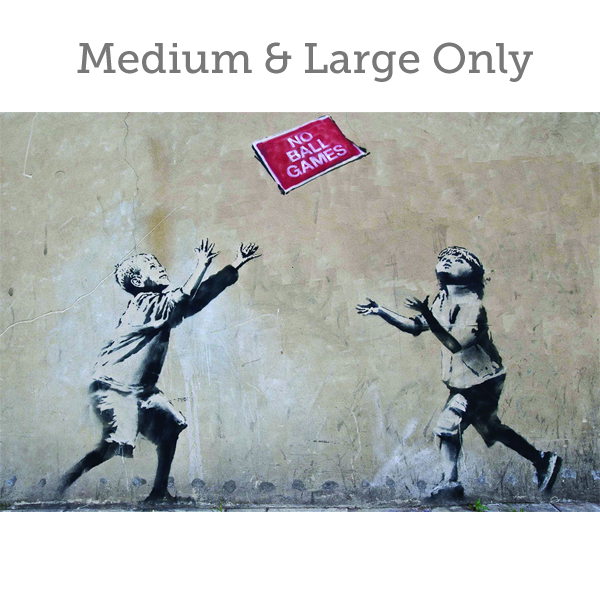 Banksy No Ball Games - Wall Art Print On Wood