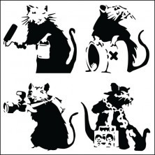 Banksy Street Rats - Wall Art Print On Wood