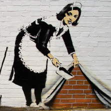 Banksy Maid - Wall Art Print On Wood