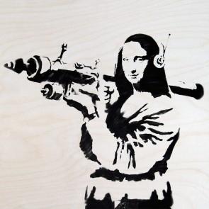 Banksy Monabazooka - Wall Art Print On Wood