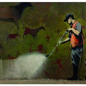 Banksy Street Cleaner - Wall Art Print On Wood