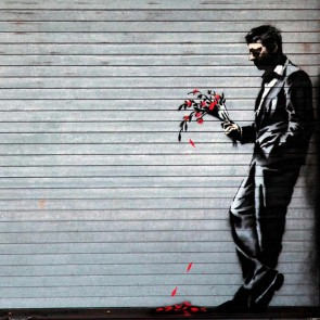 Banksy Stand Up - Wall Art Print On Wood