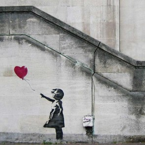 Banksy Balloon Girl - Wall Art Print On Wood