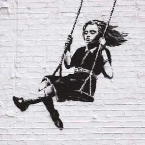 Banksy Swing - Wall Art Print On Wood
