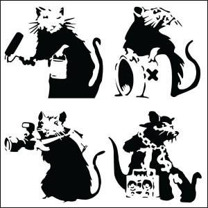 Banksy Street Rats - Wall Art Print On Wood