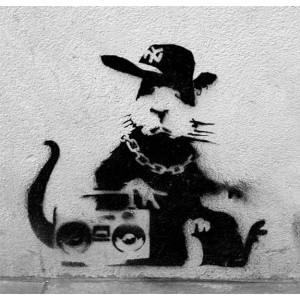 Banksy Ghetto Rat - Wall Art Print On Wood