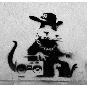 Banksy Ghetto Rat - Wall Art Print On Wood