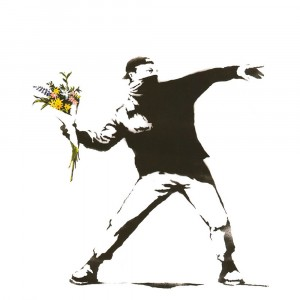 Banksy Flowers - Wall Art Print On Wood