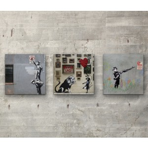 Banksy collection Three 15cm x 15cm  Wall Art Prints On Wood