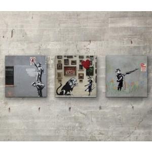 "Banksy collection Three 6"" x 6""  Wall Art Prints On Wood"