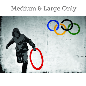Banksy Olympic Rings - Wall Art Print On Wood