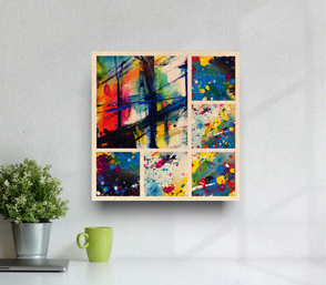 Abstract art collage print on wall