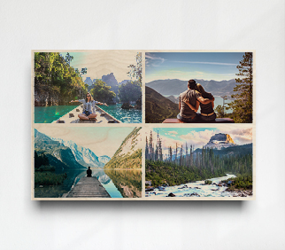 Collage of outdoor landscape photos, from family holiday on wood print on white wall