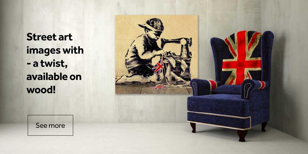 Banksy Slave Labour 50cm x 50cm Wood Print
