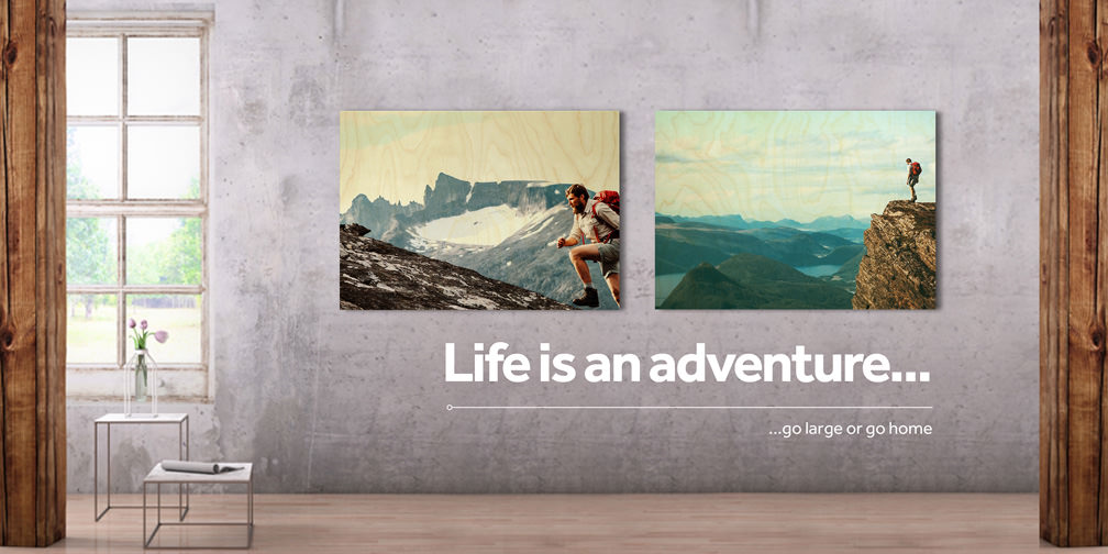 Bring the adventure home 70x50cm wood print
