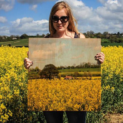 18 inch x 18 inch sunflower wood print