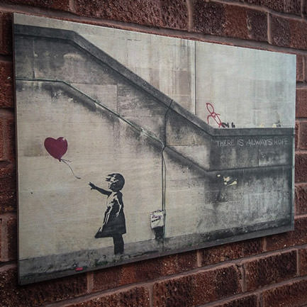 Banksy ballon girl wood print