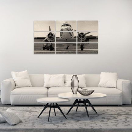 9 picture wood print of classic plane